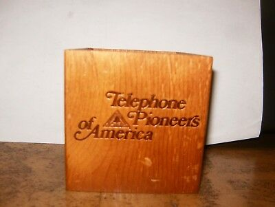 Telephone Pioneers of America Wooden Pencil Holder