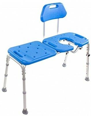 Bath Transfer Bench With CUTOUT, Deluxe ALL-ACCESS For Tub And Shower (Blue)