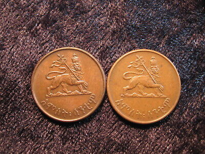 "2 old world coin lot ETHIOPIA 5 cents KM33 Haile Selassie I ""crowned Lion"""