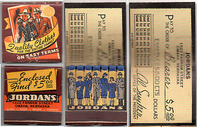 Must See! The Coolest Matchbook Ad Ever~1930/40's~Jordan's Clothes Omaha, Neb.
