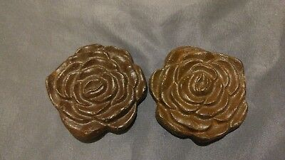 """2 Cast Iron Medallion Rosettes English Roses 3""""x 3"""" w/Hooks Excellent Condition"""