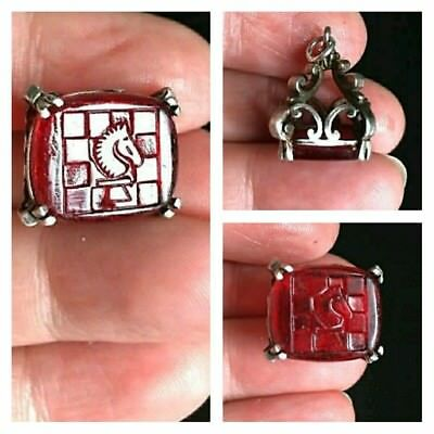 RARE Antique Victorian Sterling Silver Intaglio Red Glass Chess Knight Charm Fob
