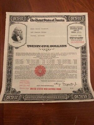 1943 Series E $25 United States War Savings Bond From Denver Colorado