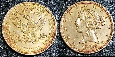 1900 P Coronet $5 Gold Eagle ☆ Beautiful Historic US Coin ☆ Low 1.4m mintage
