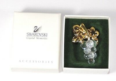 SWAROVSKI Signed Crystal Memories Cluster of Grapes Gold Tone Leaves Pin Brooch