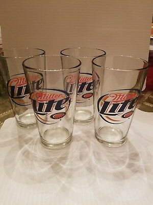 "Miller Lite Logo Barware Set Of 4 Pint Beer Drinking Glasses 5.75"" Tall"