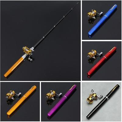Mini Pocket Aluminum Alloy Fishing Rod Pen Pole Reel Fish Pen Shape DA