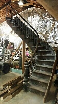 Antique Victorian Style Curved Staircase -1880 Architectural Salvage