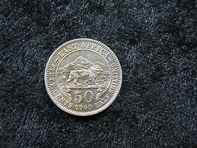 "1 old world foreign coin EAST AFRICA 50 cents 1960 KM36 ""lion"" FREE S&H"
