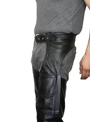 unisex black genuine leather mens ladies motorcycle biker chaps new all sizes