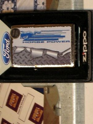 New ZIPPO Windproof USA LIGHTER 77826 Ford Mustang Rolled Diamondplate Horse Pow