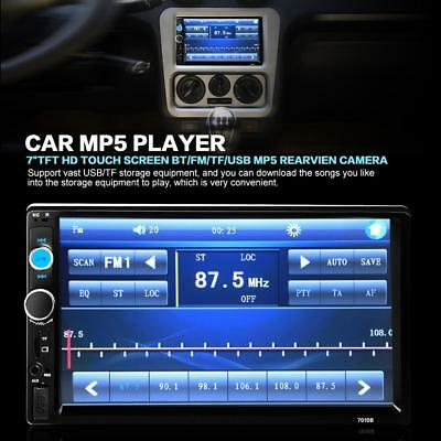 "7"" 2 DIN Car Multimedia Radio MP5 Player Bluetooth HD Universal Rear View Camera"