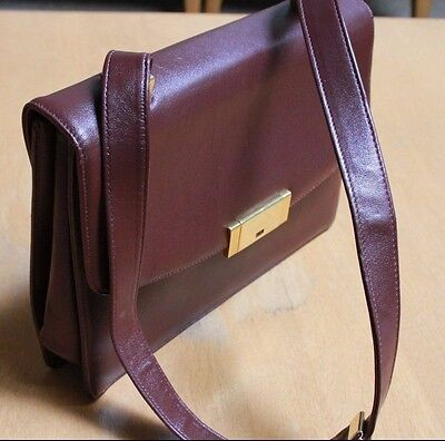 Vtg KORET Genuine Leather Handbag Burgundy Gold Clasp Shoulder strap NOS New!