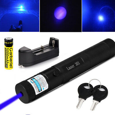 Military 50Miles Blue Purple 405nm Laser Pointer Pen Visible Beam+18650+Charger!