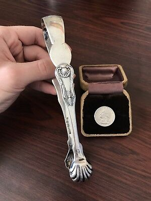 Antique 1800's F.M. English Sterling Silver Sugar / Ice Tongs - 64.8g