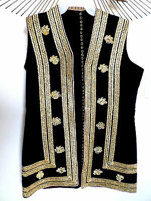Vintage Ladies Handmade Wool Gold Beaded - Wire Vest - Hand Sitched!