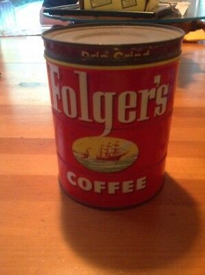1952 FOLGERS COFFEE CAN GREAT CONDITiON