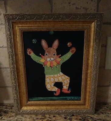 Cute Collectible Juggler Bunny Gold Frame Picture Print Signed Kelly Rightsell