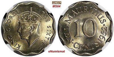 Mauritius George VI 1952 10 Cents NGC MS64 1 YEAR TYPE Low Mintage-250,000 KM#30