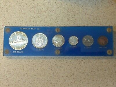 1959 CANADIAN Silver 6-coin MINT SET in blue plastic lucite holder.