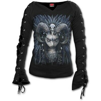 70780746 Spiral Raven Queen Lace Up Long Sleeve Top [Special Order] - Gothic,Goth