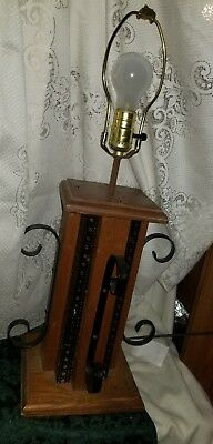 Antique/Vintage Wooden and Iron Lantern Style Table Lamp