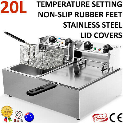 New COMMERCIAL DEEP FRYER ELECTRIC TWIN Basket Industrial Double Chip Cooker Fry