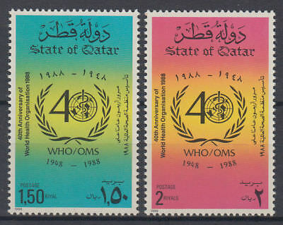 Qatar 1988 ** Mi.917/18 Weltgesundheitsorganisation WHO Health Organization