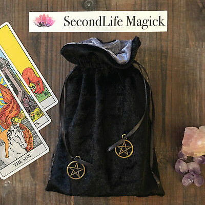 Black Velvet Tarot Card Bag Oracle Pouch 🔮~YOUR CHOICE OF CHARMS Wicca, Pagan.