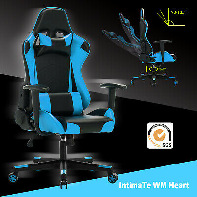 Racing Gaming Office Chair Adjustable Swivel Computer Executive Recliner Leather