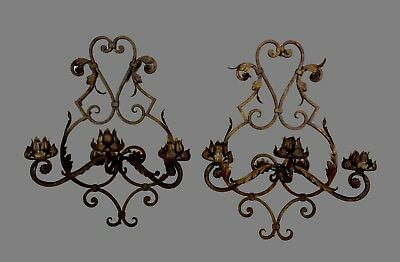 French 1950's Handmade Large Wrought Iron Pair of Wall Sconces Wall Light