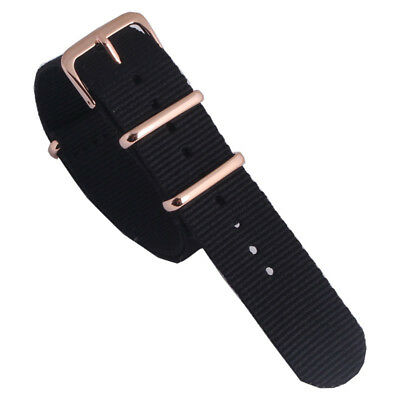 Rose Gold Buckle 18 20 22mm Solid Black Nato Nylon Watch Strap Band watchband