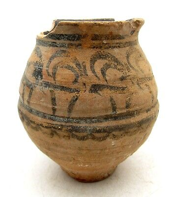 Indus Valley Terracotta Jar W/ Deer Motif - Rare Ancient Artifact Lovely - L852