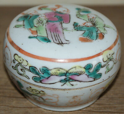 Ancienne petite boîte + couvercle porcelaine Chine Famille Rose fin 19e