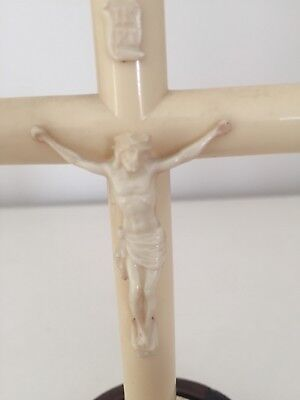 Antique Christ Crucifix with wooden stand