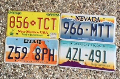 4 Number Plates From Different Western American States