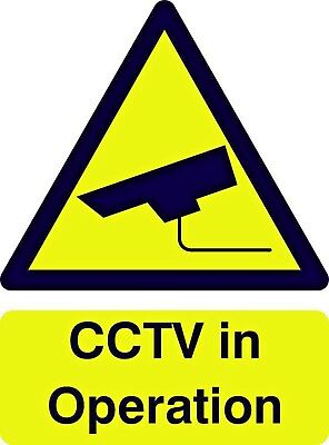 CCTV In Operation Safety Security Sign Rigid / Self Adhesive 300mm x 250mm