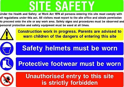 Building / Construction Site Complete Safety Sign Pack Set Starter Build Rigid