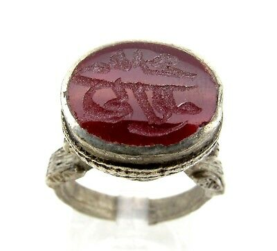 Post Medieval Silver Ring With Carved Intaglio Carnelian Stone Script - C344