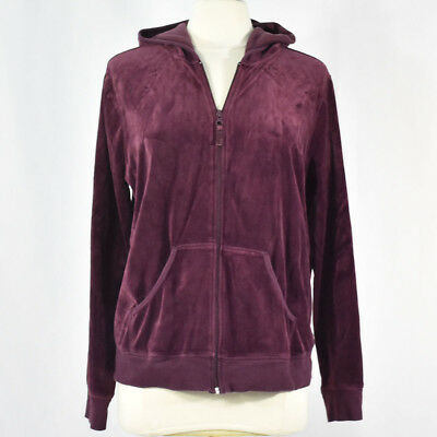 Motherhood Maternity Velour Zip Front Hoodie Top XL Purple Wine