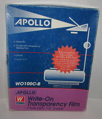 APOLLO Projector Clear Film Transparency Box of Clear Sheets WO 100C-B 8 1/2x11