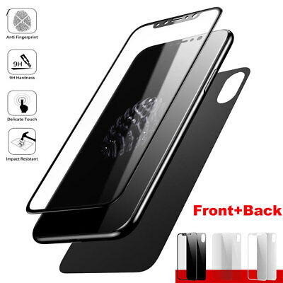 3D 9H Front Rear Tempered Glass Film Full Cover Screen Protector for iPhone X 8P