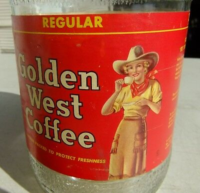 1941 2 lb. Net Glass Golden West Coffee Cow Girl 3 Grinds Jar w/ Paper Label