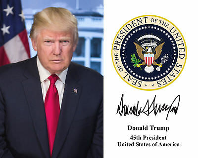 President Donald Trump 11x14 POSTER with Presidential Seal and Signature