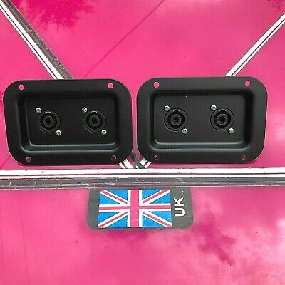 pair Speaker Connector Dishes with Neutrik 4 Pole Speakon Connectors bolted on