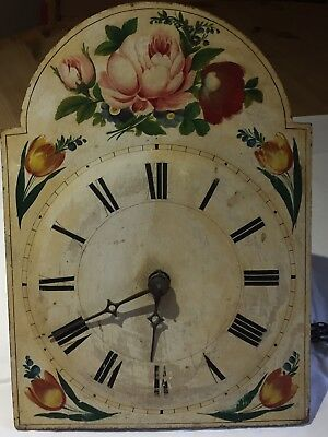 Antique Wall Clock. Shabby Chic. Floral Hand Painted Face. Needs Restoration