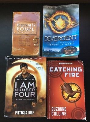 Lot of 4 Teen/Young Adult Books Divergent, Catching Fire, I Am Number Four +