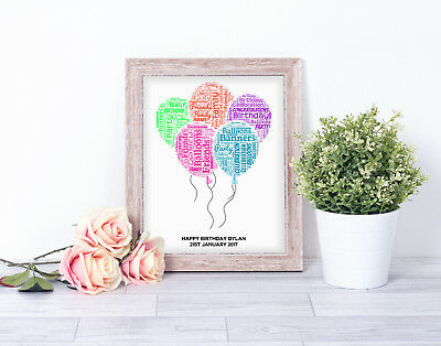 Personalised BALLOONS Word Art Print Birthday Celebration Gift 18th 21st 30th