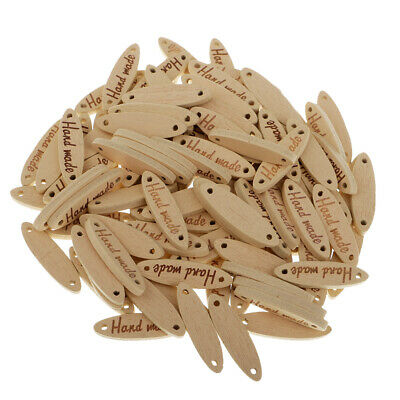 50x Natural Handmade Label Wood 2-holes Buttons Tags Clothing Decoration