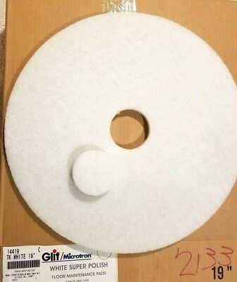 Box of 5 New Glit / Microtron Super Polishing Pads  19 Inch White # 736972